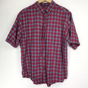 Woolrich L Shirt Button Red Blue Plaid